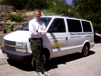 "Photo of Skip next to his work van. Henry ""Skip"" Meier, P.E. is the Owner and President of Meier Construction and Engineering Company. He holds a Bachelor of Civil Engineering from the University of Delaware, and is a registered Professional Engineer in the State of Colorado."